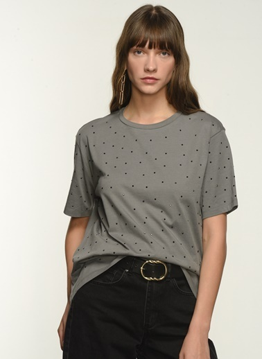 NGSTYLE Kadın Taş Yapıştırmalı Tişört NGKSS21TS0040 Antrasit
